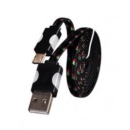 Micro-USB LED Nylon USB-kaabel 1 meetrine must