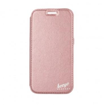 Samsung S7 / G930 Beeyo Book Glamour kaitsekott roosa-kuldne