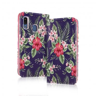 Samsung A20e / a202f Smart Magnet kaitsekott Tropical Flower