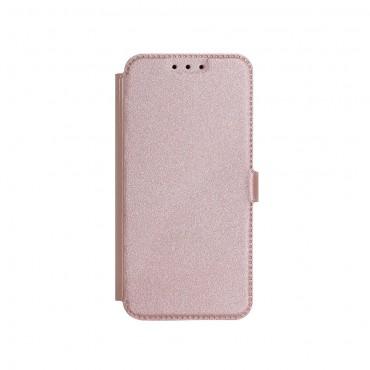 Huawei Mate 20 Lite silikoonraamiga küljele avanev kaitsekott roosakas kuldne