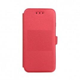 Huawei P20 silikoonraamiga küljele avanev kaitsekott punane