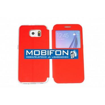 Samsung A300 Galaxy A3 Küljele Avanev kott aknaga punane