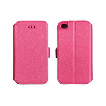 Nokia 5.1 Plus silikoonraamiga küljele avanev kaitsekott roosa