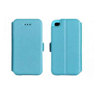 Samsung G928 Galaxy S6 Edge+ silikoonraamiga küljele avanev kaitsekott sinine