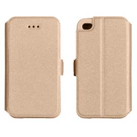 Samsung J3 (2017) / J327 silikoonraamiga küljele avanev kaitsekott Kuldne