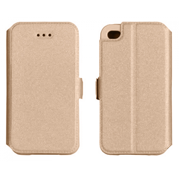 Samsung G930 Galaxy S7 silikoonraamiga küljele avanev kaitsekott Kuldne