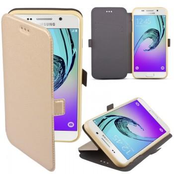 Samsung S9 / G960 silikoonraamiga küljele avanev kaitsekott kuldne