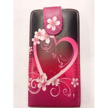 Nokia 520 Lumia Allaavanev plastikraamiga Kaitsekott süda roosa