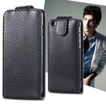 Nokia C6-00 allaavaneva klapiga kaitsekott must ussinahk