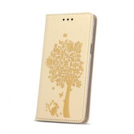 Sony Xperia E5 nahast kaitsekott Smart Stamp Tree kuldne