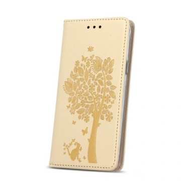 Samsung X-Cover 3 / G388 nahast kaitsekott Smart Stamp Tree kuldne