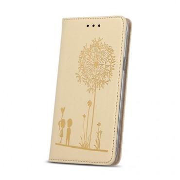 Sony Xperia E5 nahast kaitsekott Smart Stamp Love kuldne