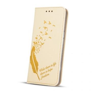 Huawei P10 nahast kaitsekott Smart Stamp life kuldne