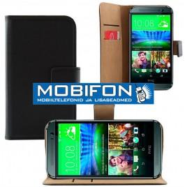 HTC One M9 Book nahast kaitsekott must