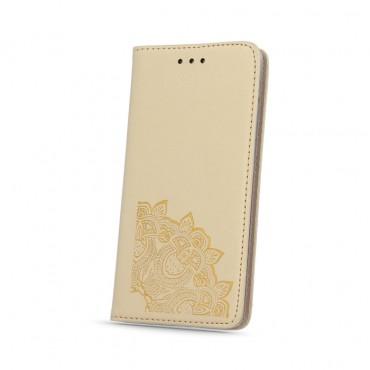 Samsung A5 (2016) / A510 nahast kaitsekott Smart Stamp floral kuldne