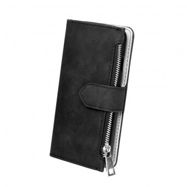 Samsung J3 (2017) / J330 Leather Wallet kaitsekott must