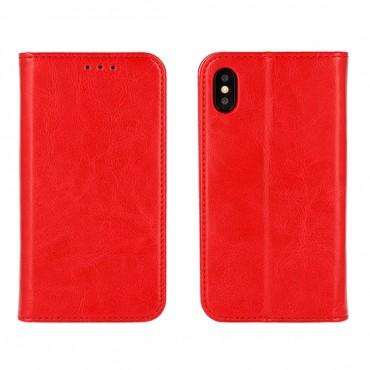Apple Iphone X täisnahast Book kaitsekott punane