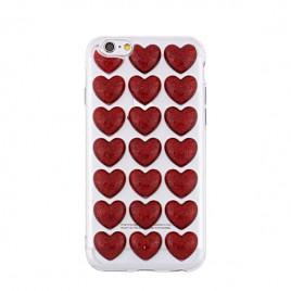 Apple Iphone 6 Plus / 6s Plus silikoonkaitse 3D Hearts punane