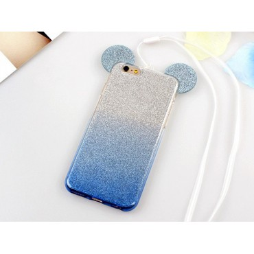 Apple Iphone 7 / 8 3D silikoonkaitse Bling Mouse helesinine