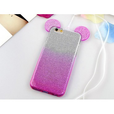 Apple Iphone 6 / 6s 3D silikoonkaitse Bling Mouse roosa