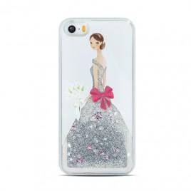 Apple Iphone 5 / 5S / SE 3D vedelikuga silikoonkaitse Lady valge