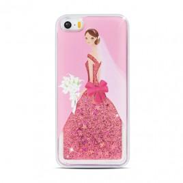 Apple Iphone 5 / 5S / SE 3D vedelikuga silikoonkaitse Lady roosa