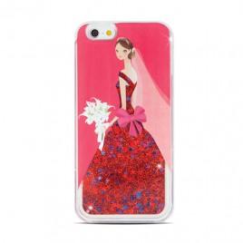 Apple Iphone 6 / 6s 3D vedelikuga silikoonkaitse Lady punane