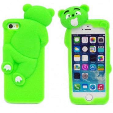 Apple Iphone 6 / 6s 3d silikoonkaitse roniv karu roheline