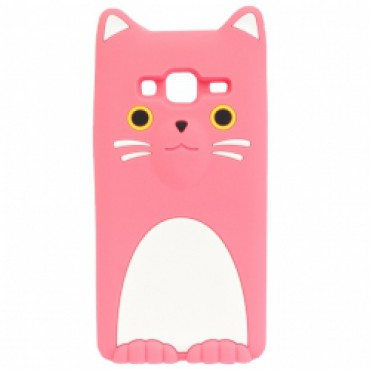 Samsung J320 / J3 (2016) 3D silikoonkaitse kass roosa