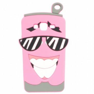 Samsung J320 / J3 (2016) 3D silikoonkaitse limonaadipurk roosa