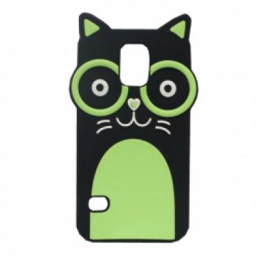 Samsung G900 Galaxy S5 / S5 neo 3D silikoonkaitse kass roheline