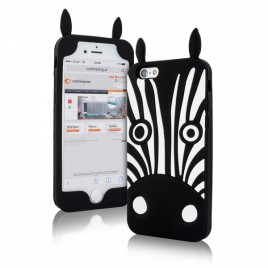 Apple Iphone 7 / 8 3D silikoonkaitse zebra must