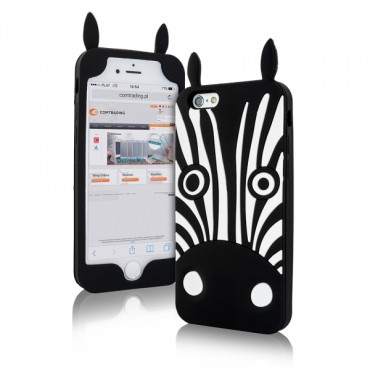 Apple Iphone 6 / 6s 3D silikoonkaitse zebra must