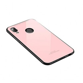 Huawei P20 Lite Glass silicone case roosa