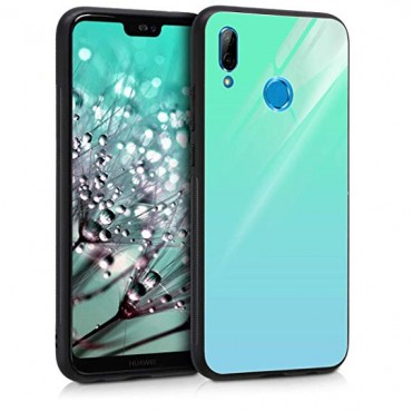 Huawei P20 Lite Glass silicone case helesinine