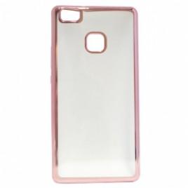 Huawei P9 lite silikoonümbris läbipaistev roosa äärega