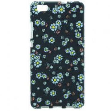 Huawei P8 Lite silikoonkaitse helendav sinised lilled
