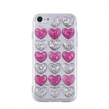 Apple Iphone 7 Plus / 8 Plus silikoonkaitse 3D Hearts lilla