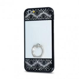 Huawei P9 Lite silikoonraamiga plastikkaitse Floral must-läbipaistev