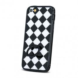 Apple IPhone 5 / 5s / SE silikoonraamiga plastikkaitse Grid must-valge