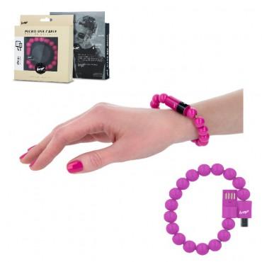 Beeyo käevõru - USB laadimiskaabel MicroUSB roosa